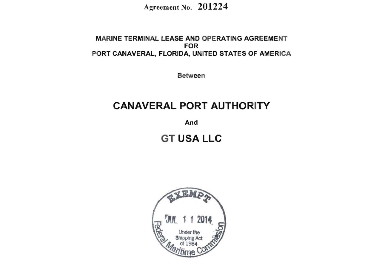 """The Federal Maritime Commission marked Gulftainer's GT USA maritime terminal operator lease with Port Canaveral """"EXEMPT Under the Shipping Act of 1984"""""""