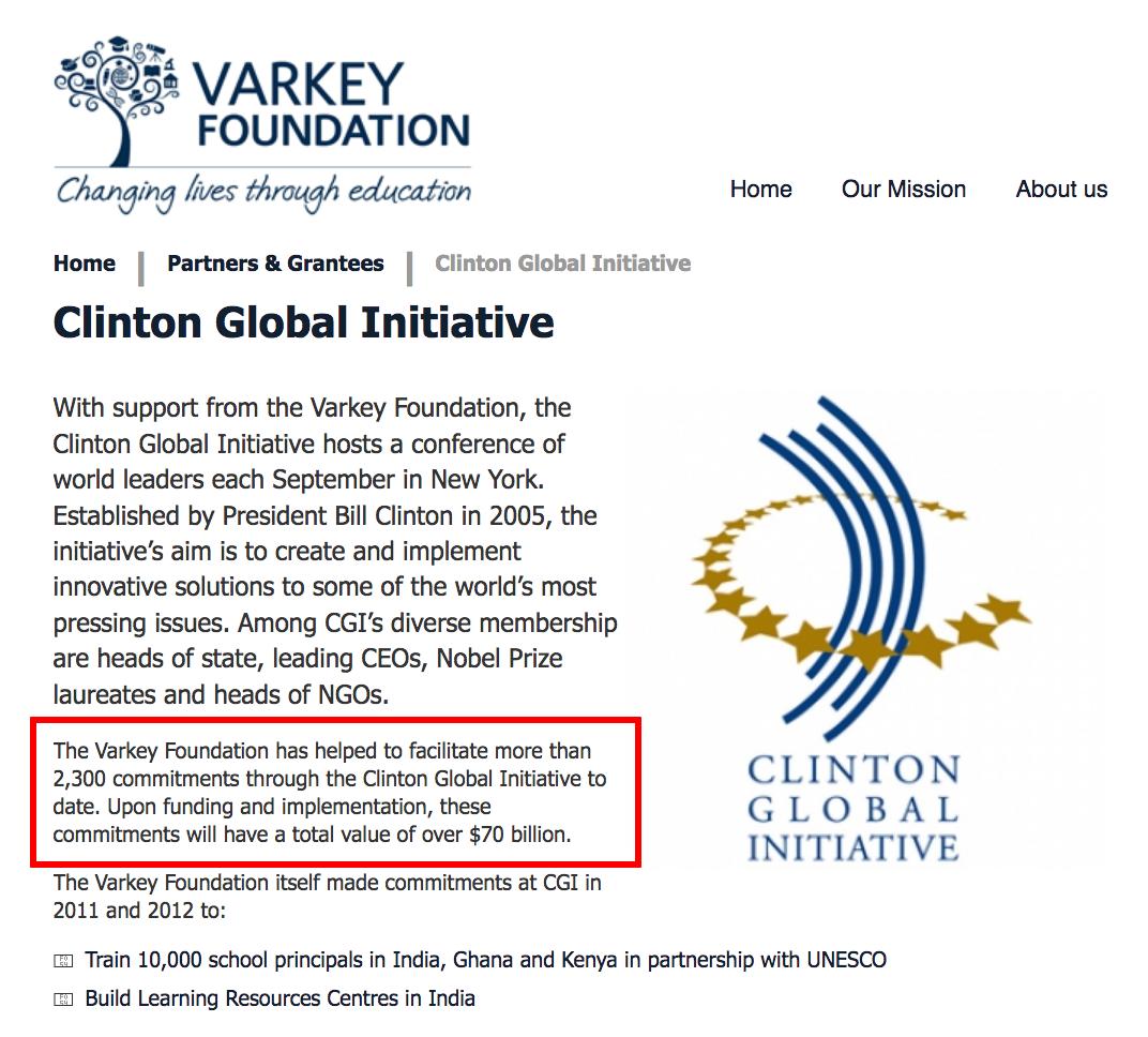Varkey GEMS Foundation $70 Billion for Clinton Global Initiative