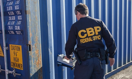 U.S. Customs and Border Protection inspecting cargo container