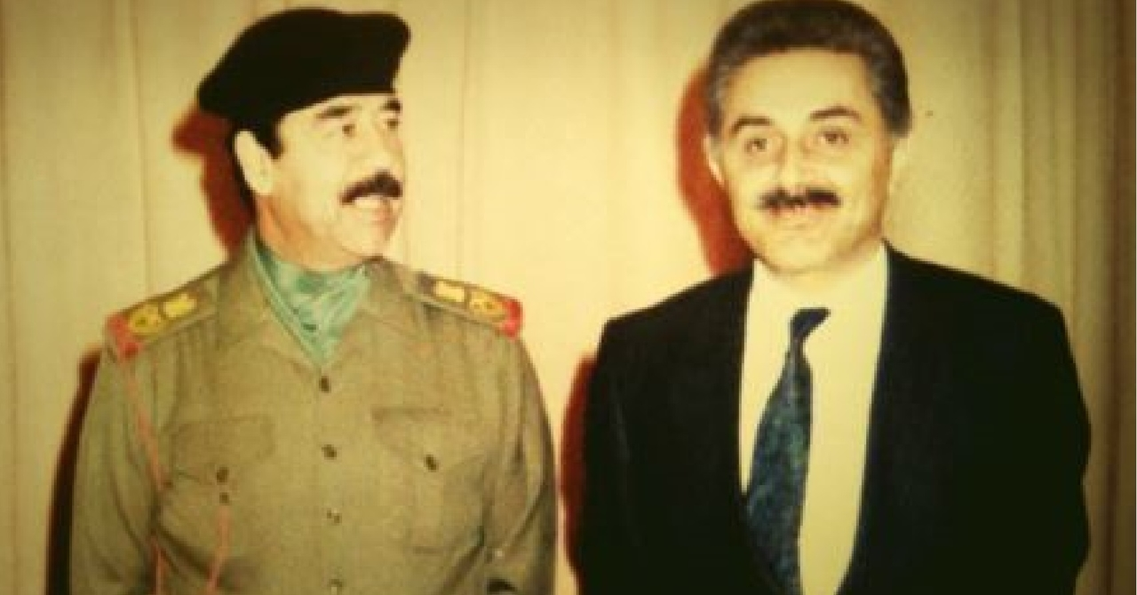Iraqi President Saddam Hussein with his Deputy Defense Minister, nuclear physicist Dr. Jafar Dhia Jafar