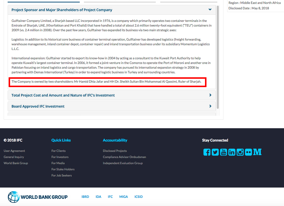 Gulftainer World Bank IFC Disclosure Shareholders Hamid Jafar Sharjah, UAE Ruler