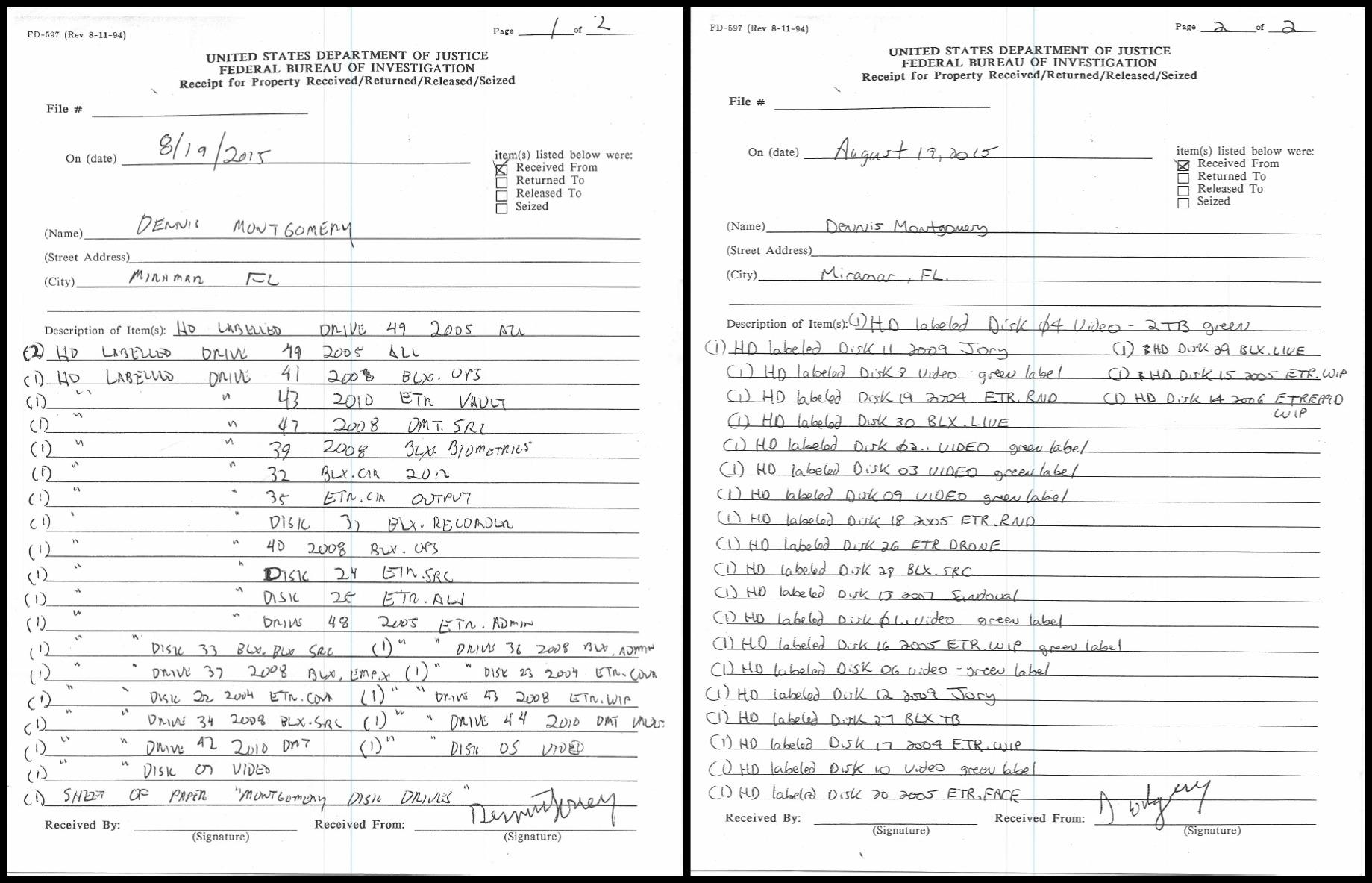 Dennis Montgomery FBI Receipt Hard Drives