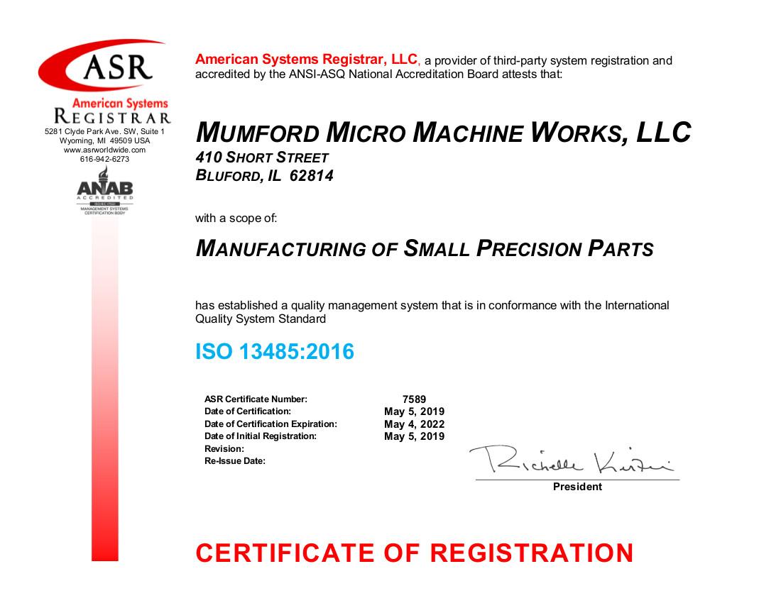 7589 Mumford Micro Machine Works ISO 13485 Certificate May 2019-signed