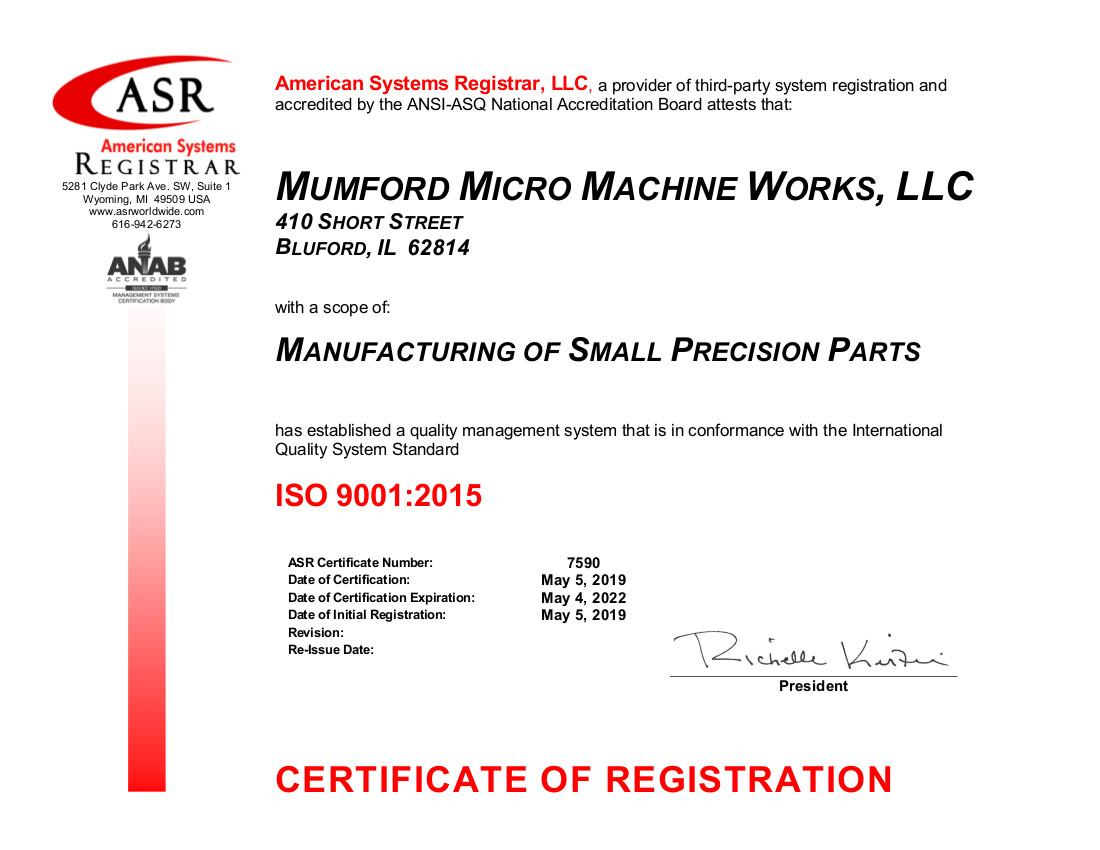 7590 Mumford Micro Machine Works ISO 9001 Certificate May 2019-signed