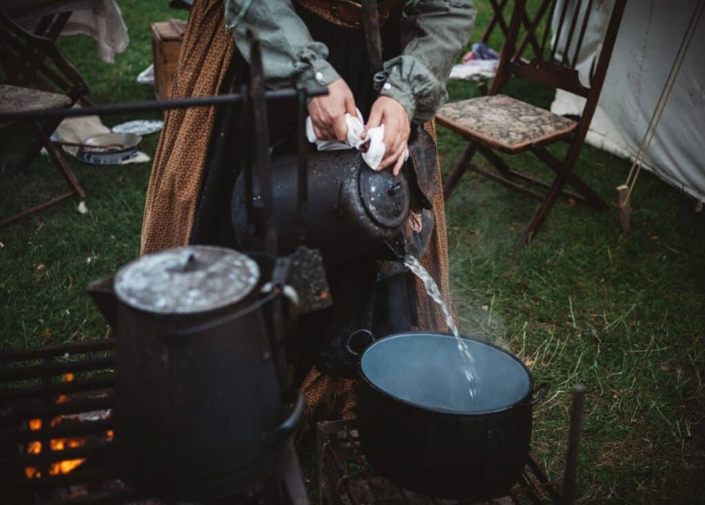 hot water being poured into bowl