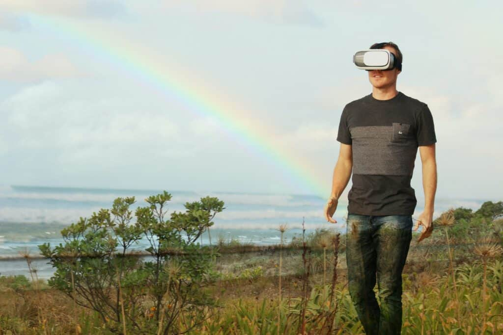 man using virtual reality device