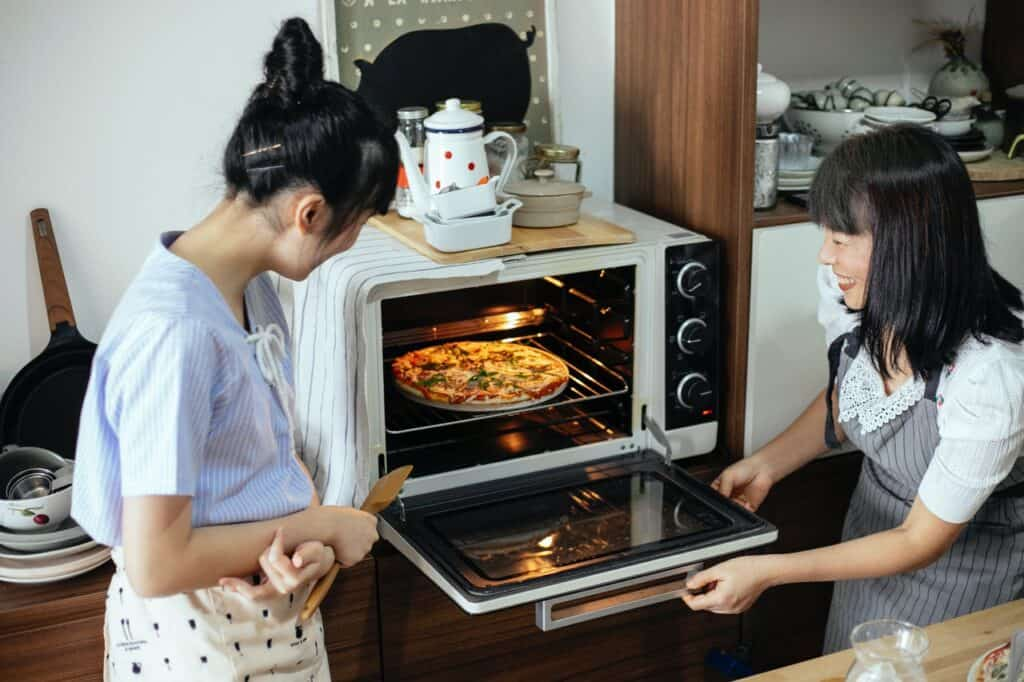 white countertop oven