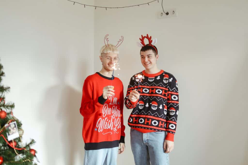people wearing ugly christams sweater