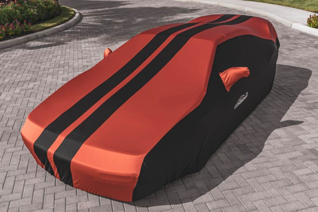 red car cover with black stripes