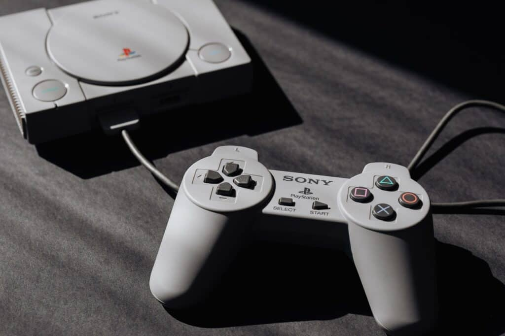 gaming console connected to gamepad