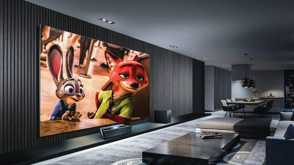 projector screen showing animations