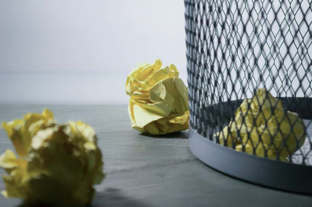 meshed office trash can