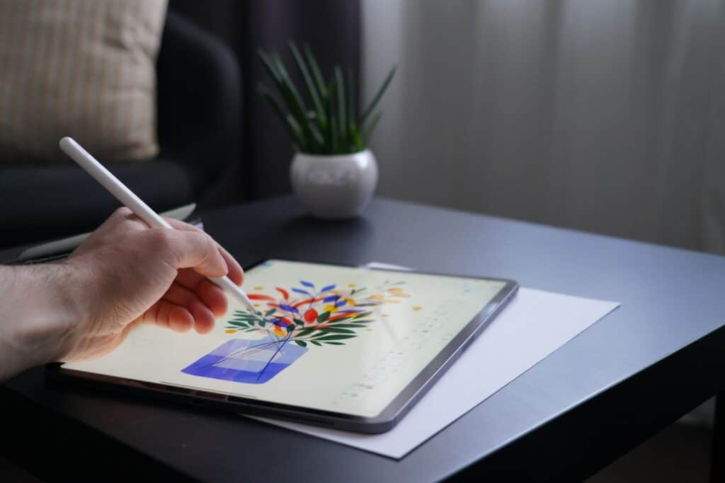 drawing tablet with screen displaying picture