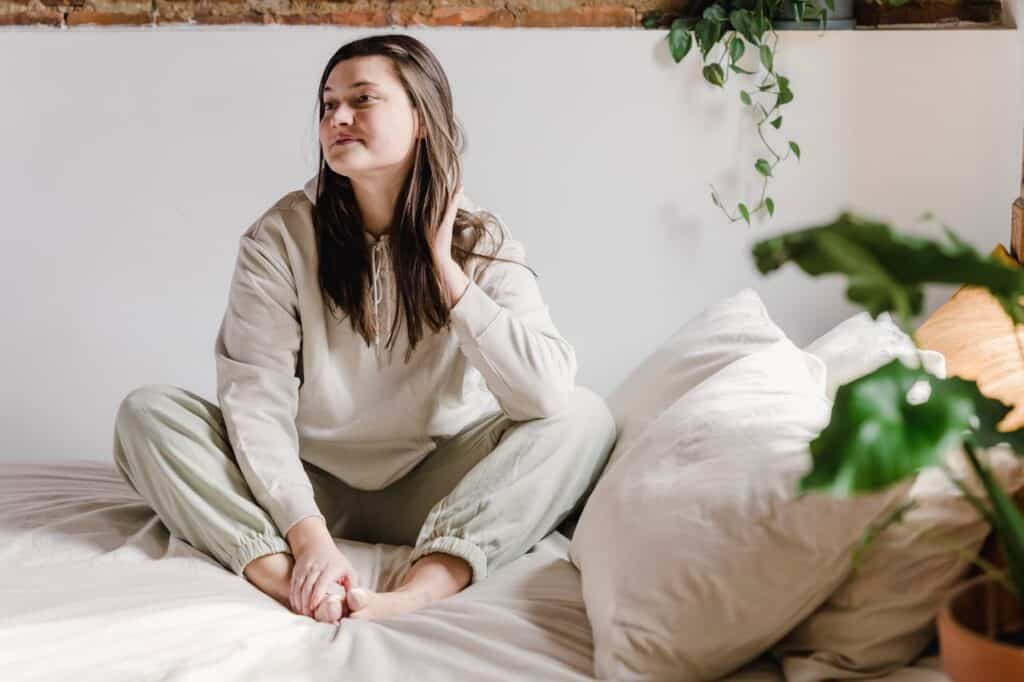 white pillow near beautiful woman