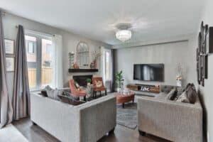 bright chandelier lighting living room