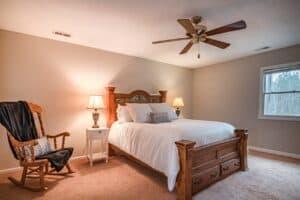 bedroom with farmhouse ceiling fan