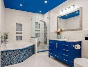 beautiful modern blue-themed bathroom