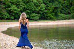 woman wearing blue maxi summer dress