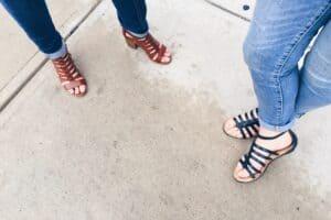 women wearing strappy steve madden sandals