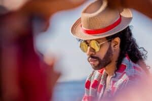 man wearing sun hat