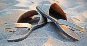 sandals on white sand