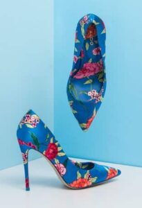 blue heels with floral patterns