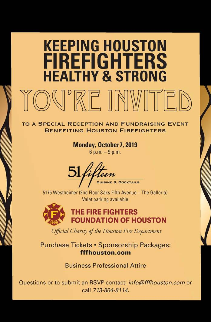 Special Reception and Fundraising Event- October 7, 2019