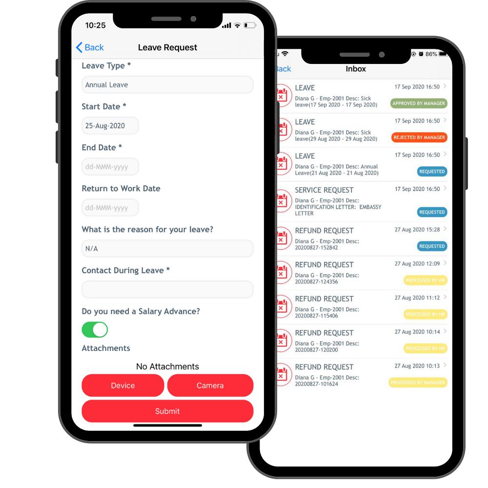 HRMS app leave management