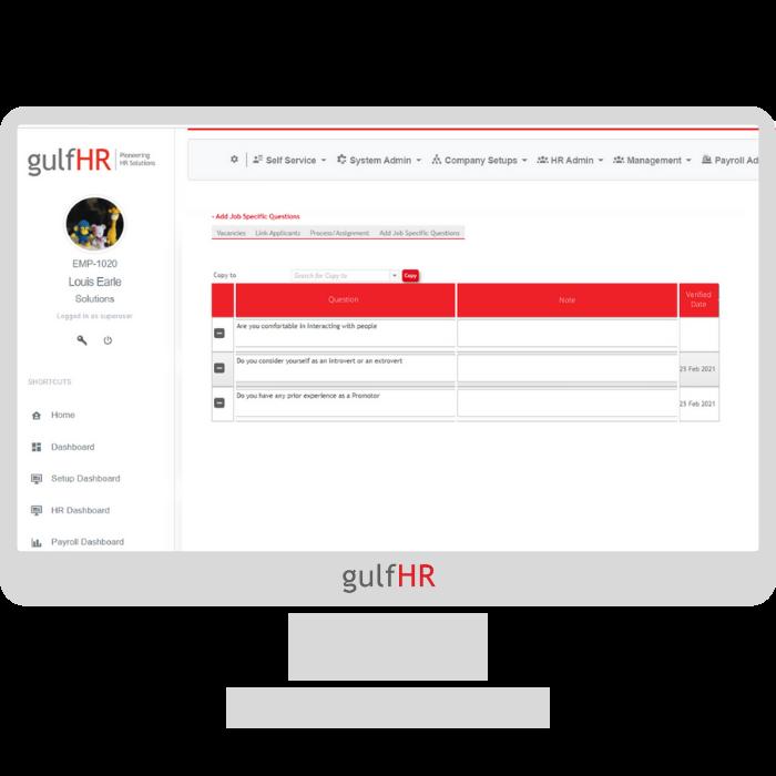 gulfHR Recruitment- Job Speicfic questions