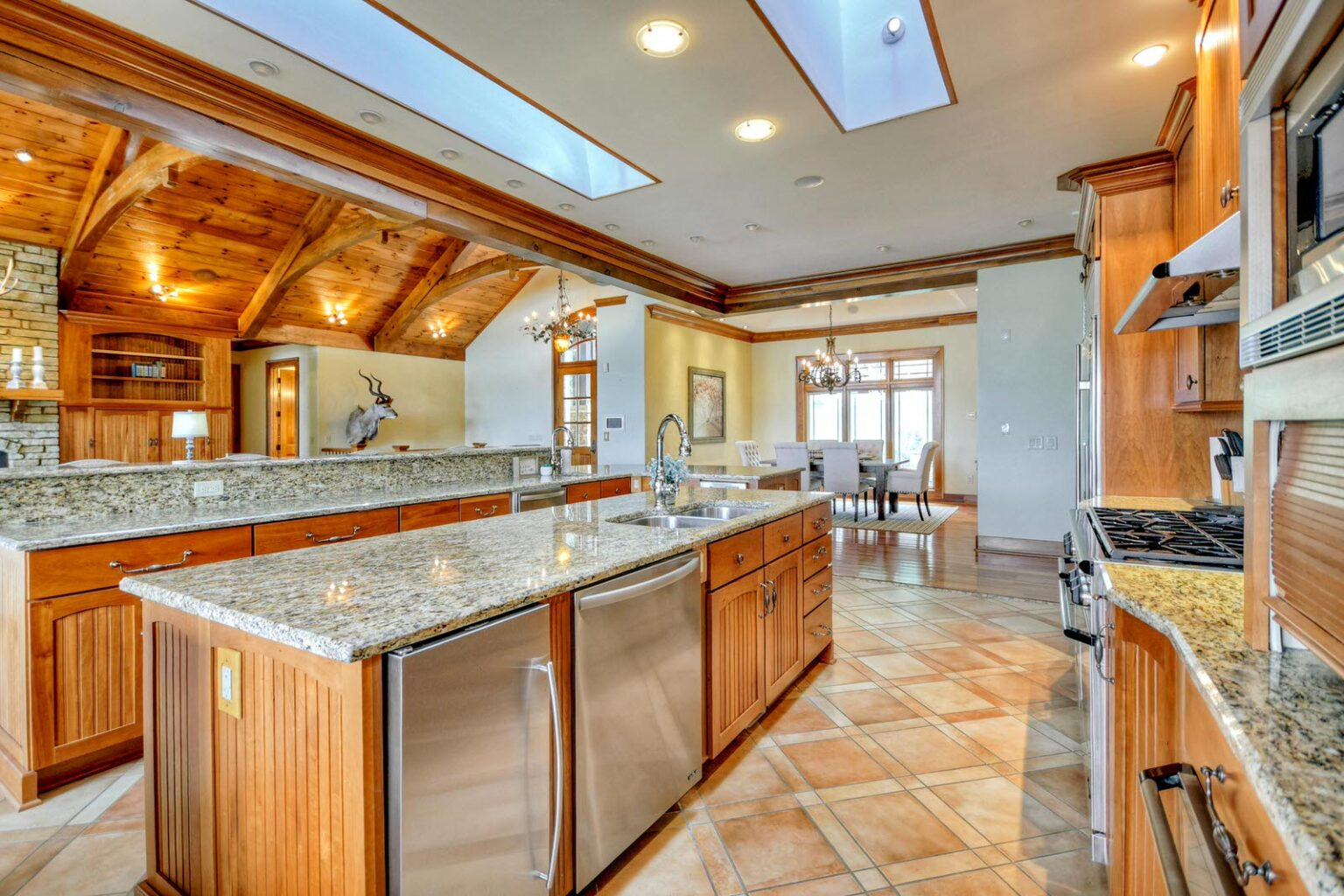 mountain mansion kitchen dining 3