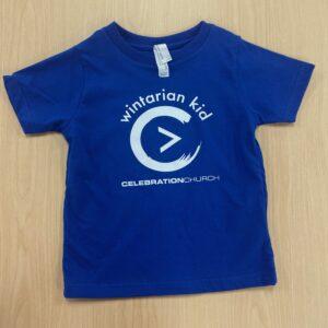 Front Side Blue Wintarian Short Sleeve Kid T-Shirt