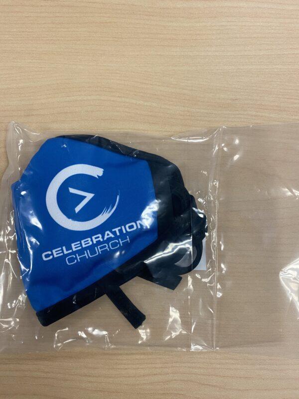 Blue Celebration Logo Face Mask