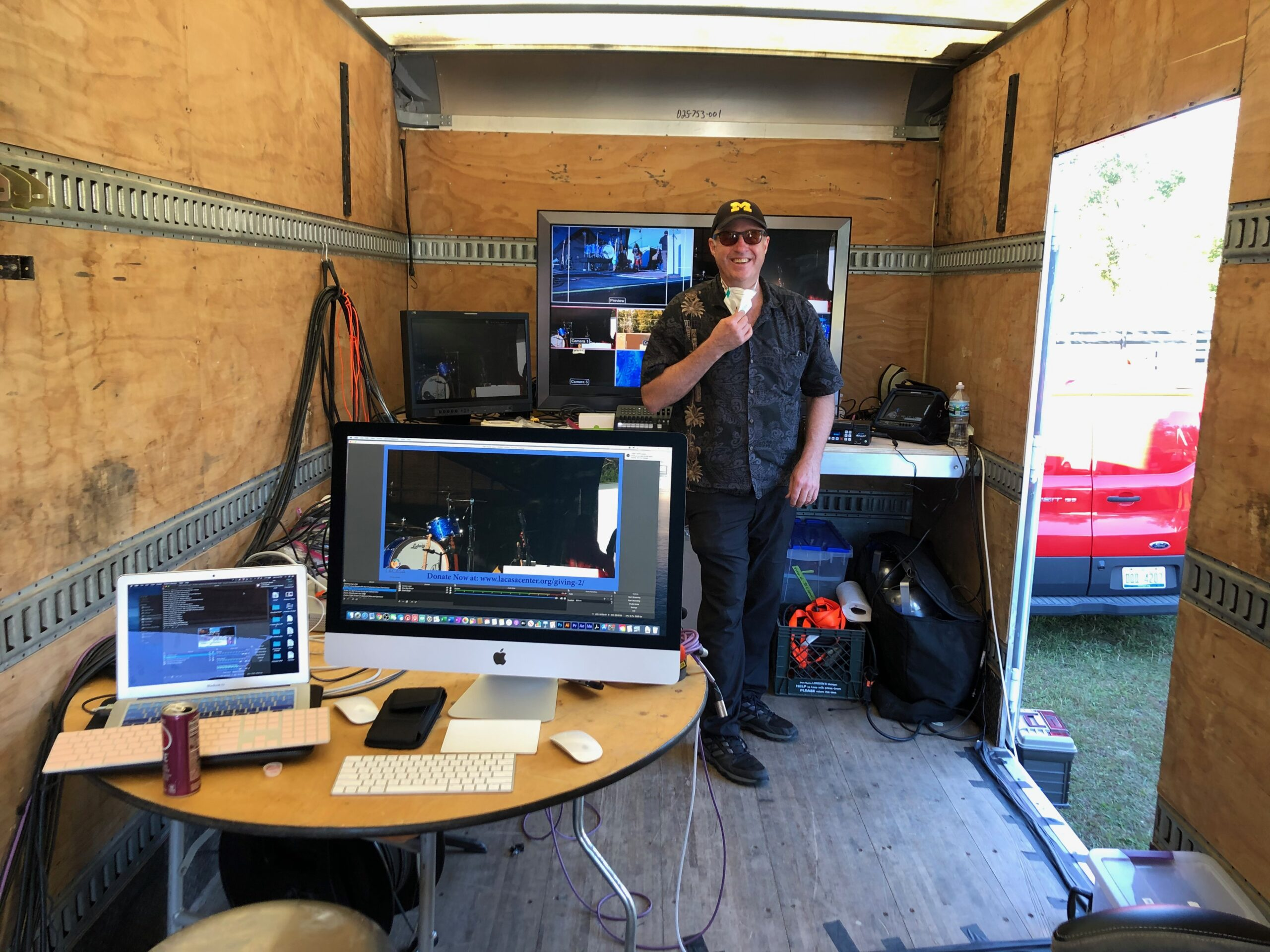 Jacques Mersereau in our audio/video truck.