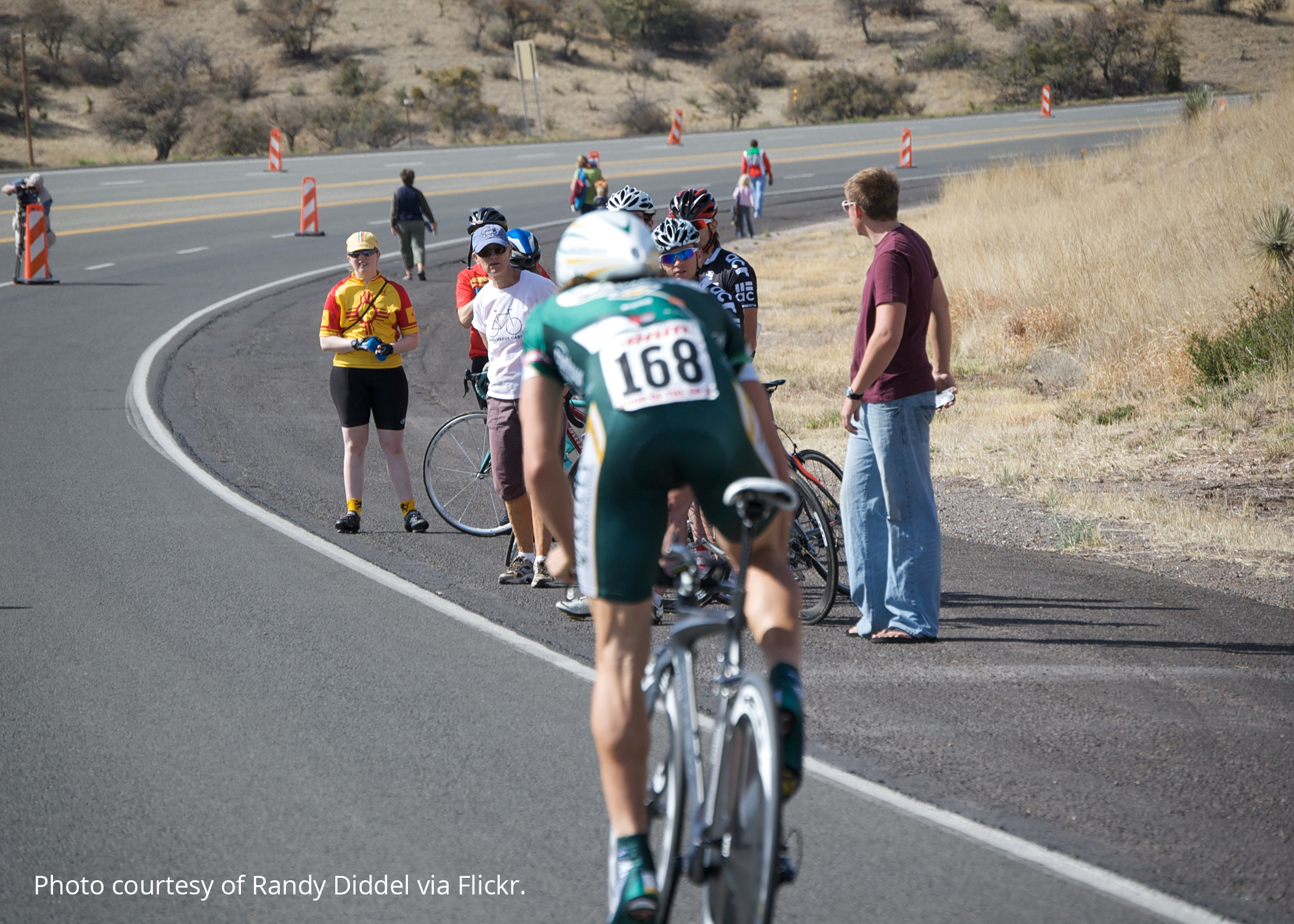 Tour of the Gila with a bicyclist in the foreground. Photo courtesy of Randy Diddel via Flickr.