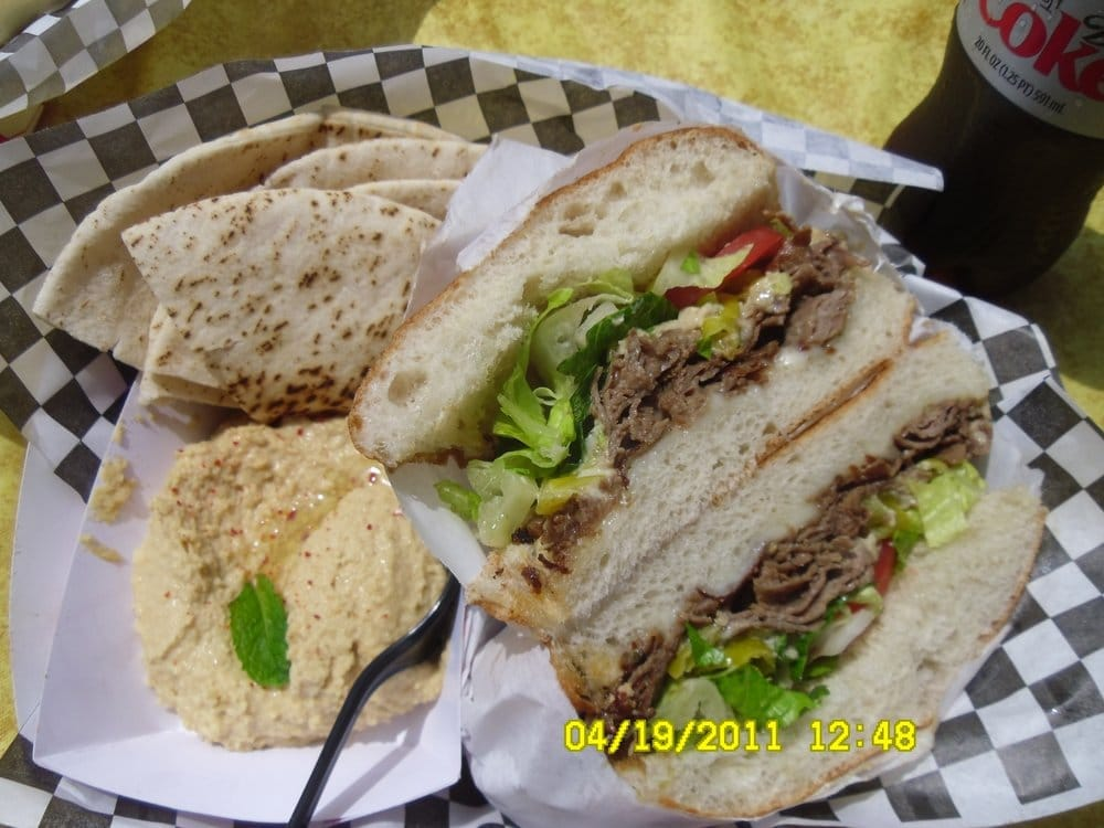 steak sandwich special and a side of hummus
