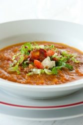 CHILLED TOMATO SOUP WITH GRILLED NAN
