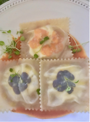 RAVIOLI WITH HOMEMADE RICOTTA CHEESE, EDIBLE FLOWERS AND FRESH SUMMER TOMATO SAUCE!