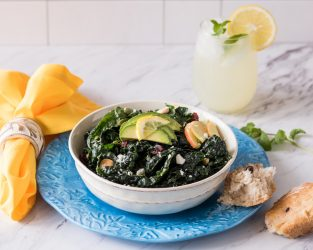 KALE SALAD WITH CREAMY AVOCADO DRESSING AND FUJI APPLES