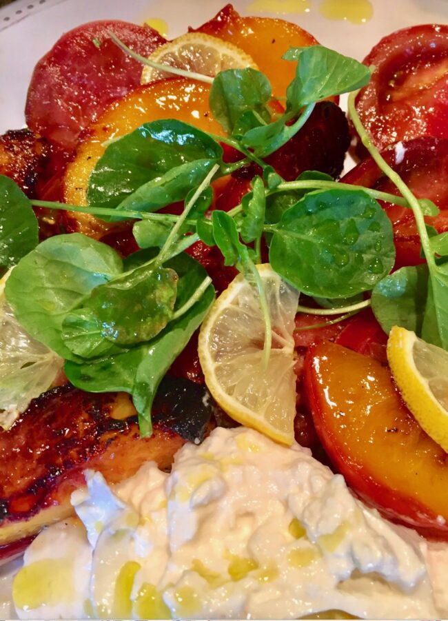GRILLED PEACHES AND BURRATA CHEESE SALAD