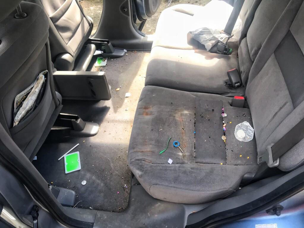 Dirty Honda CRV rear seats