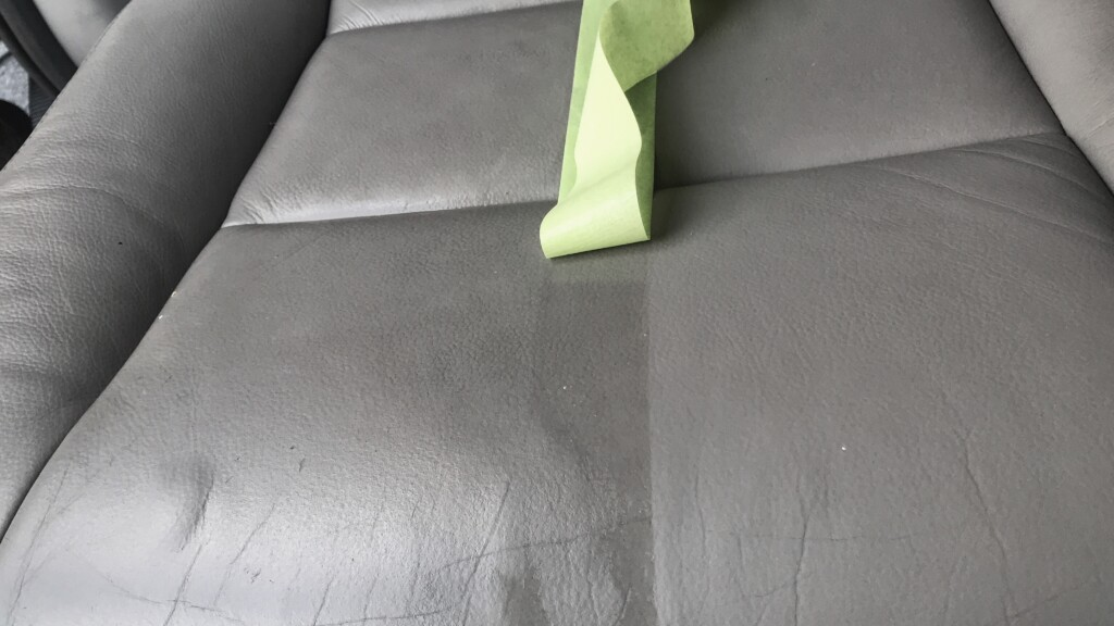 rear seat with tape line close up