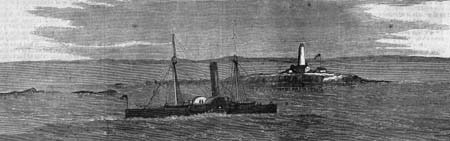 The steamer Winooski near Faulkner's Island in an 1866 engraving