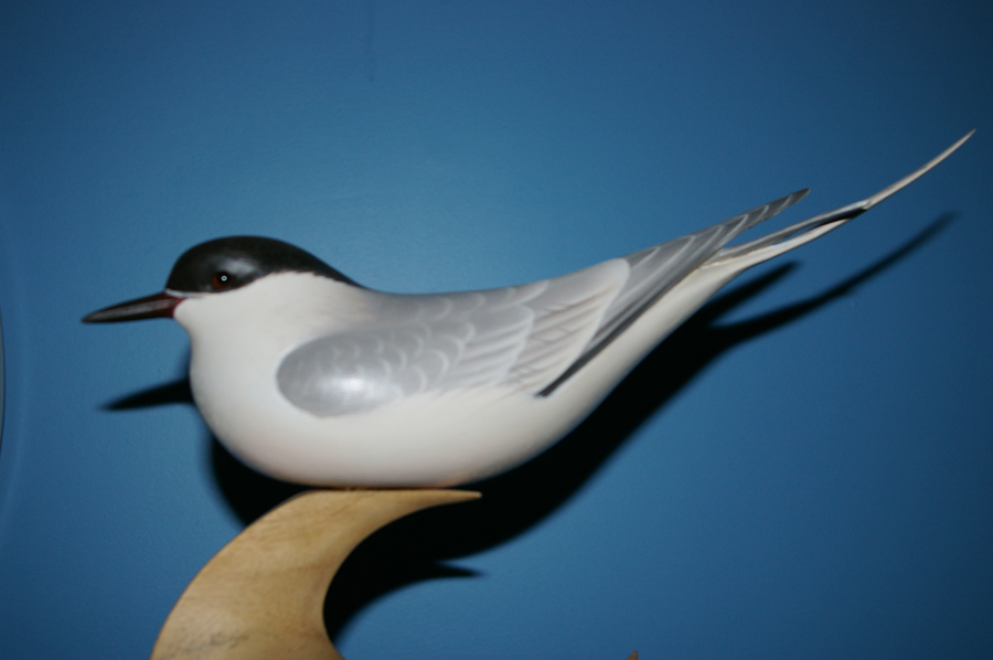 Auction: Tern Sculpture: Avian wood sculpture carved by artist Keith Mueller from Killingworth, CT