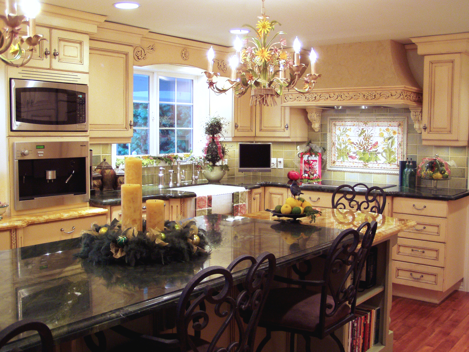 View towards sink, on the left side of the image is the espresso machine