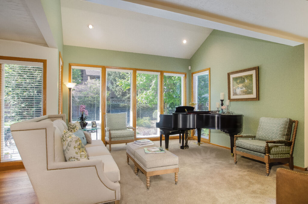 Grand piano at the focus of the living room