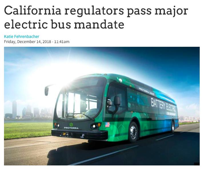 GreenBiz article: California regulators pass major electric bus mandate