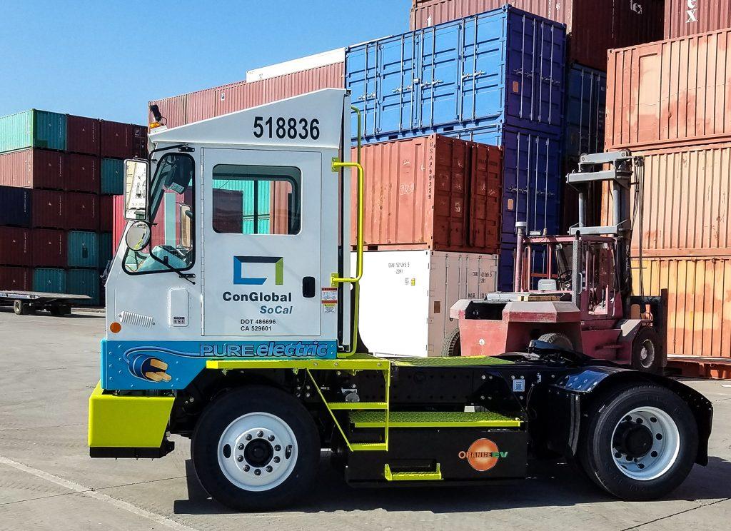Conglobal SoCal Orange EV Pure Electric Terminal Truck