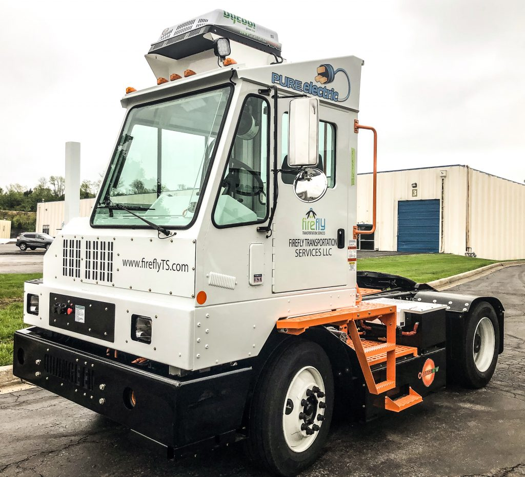 One of Firefly Transportation's Orange EV trucks, to be deployed to the Kraft Heinz distribution center in Groveport, Ohio