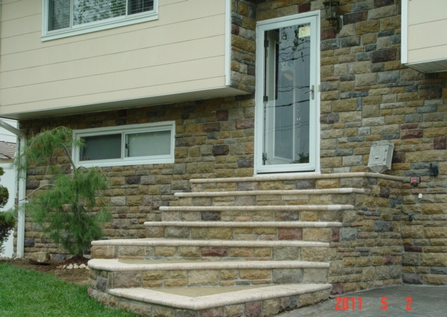 Cultured Stone Facade & Stone Front Steps