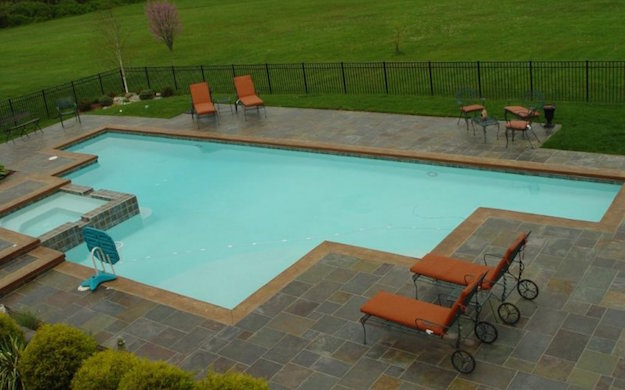 Slate Patio Pool Surround with Stamped Concrete Coping nj